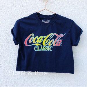 Coca Cola Rainbow Logo Crop Top Blue Size Small